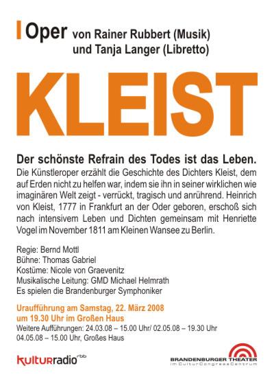 Die Oper 'Kleist' - Rainer Rubbert